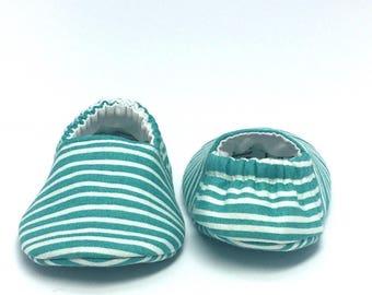 0-3mo RTS Baby Moccs: Teal & White Stripes / Crib Shoes / Baby Shoes / Baby Moccasins / Vegan Moccs / Soft Soled Shoes / Montessori Shoes
