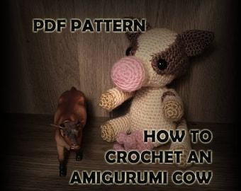 How to Crochet Amigurumi Cow Stuffed Animal - Crochet Pattern - Crochet Cow Pattern - Crochet PDF - DIY Crafts - Amigurumi Crochet Pattern