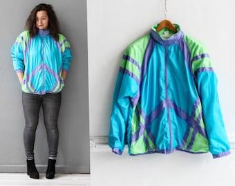 80s Vintage windbreaker, Neon Sports jacket, Active wear for women, Blue track jacket, Colorblock windbreaker, 80s Vintage tracksuit / M L