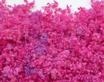 Hand-dyed wool nepps cerise/purple