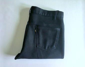 Vintage Men's 70's Levi's, Polyester, Pants, Navy Blue, Straight Leg (W37 x L31)