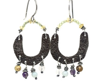 Sterling Silver Spring Earrings with Peridot, Citrine, Amethyst, Rose Quartz, Amazonite and Picture Jasper Stone Beads