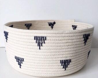 Rope Basket, Triangle Pattern, Storage Basket, Boho Decor, Cosmetics Organizer, Jewelry Holder, Kitchen Storage, Bathroom Storage, Scandi