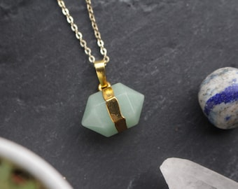 Genuine Aventurine Crystal Hexagonal Pointed Nugget Necklace with 18K Gold Plated Chain