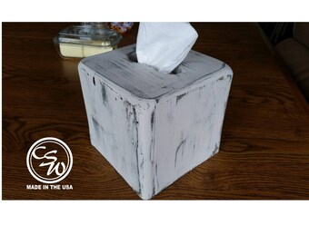 Tissue Box Cover, Square Tissue Box Holder, Wood Tissue Box Cover, Rustic Wood Tissue Box Cover, Wooden Tissue Box Cover