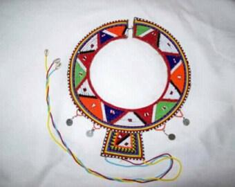 Masaai leather Beaded wedding necklace.