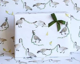 Holiday Geese Wrapping Paper - 3 Sheets - Garland Gift Wrap