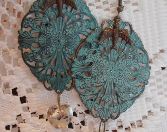 Large ornate Verdigris finish earrings with bird detail and Swarovski crystals
