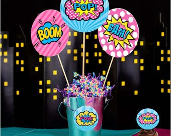 Superhero Centerpiece, Designs,60% savings  Supergirl, Pink and Blue instant download, Hero Party, Pow, Bang, Kapow, Zap, Bubbles,  6 styles