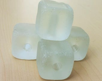 Tumbled Glass Cubes - Clear Frosted - Faux Seaglass