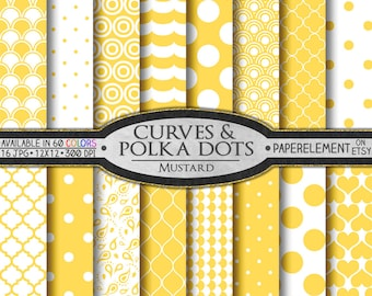 Yellow Polka Dot Digital Paper - Mustard Yellow Geometric Printable Patterns with Light Yellow Shapes of Hearts, Waves, Shells, Quatrefoil