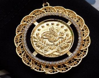 Large Arab Turkish Coin Pendant