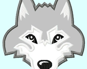 Wolf Husky Head Applique Embroidery Designs 3 sizes,    hoops 4x4 5x7 6x10 INSTANT DOWNLOAD