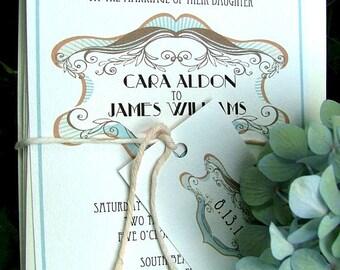 Art Deco Wedding Invitation: Elegant Art Deco Wedding Invitations, Custom Pink and blue, purchase this listing to begin an order