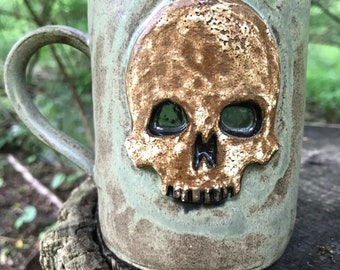 Green Stone Skull Mug
