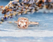 Morganite Engagement Ring Rose Gold Cushion Cut Bridal Wedding Women Peachy Diamond Halo Anniversary Gifts For Her Graduation Birthday Ring