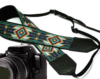 Camera strap inspired by Native American.  Greenish Southwestern Ethnic Camera strap.  DSLR / SLR Camera Strap. Camera accessory by InTePro