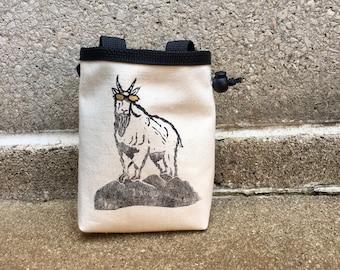 chalk bag, rock climbing chalk bag, chalkbag, climbers, climbing gifts, rock climbers, canvas chalkbag, linoprint, mountain goat