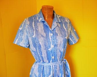 Blue and White Dress, Tea Dress, 1960s Dress, Sixties Dress, Mod Dress, Vintage Dress, Retro Dress, UK Size 10, US Size 6, US 8