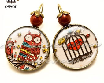 OWL earrings. glass cabochons. Beige, red. Red OWL and heart in cage. Women, children birthday gift.