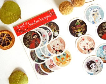 Art Sticker Pack #1, Set of 12 Stickers, Popsocket Stickers Snail-Mail Postcrossing Pen Pal Gift
