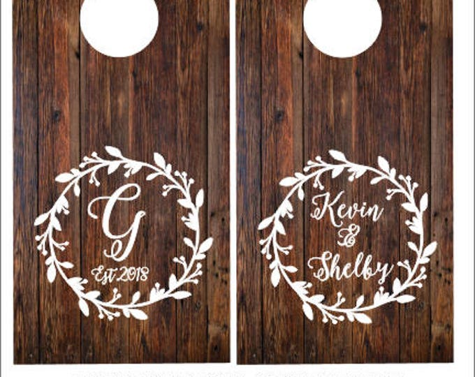 Wedding Sign Decals Rustic Cornhole Decals for Wedding Couples Names and Monogram with Date Vinyl Decals for Cornhole Boards Set of Two