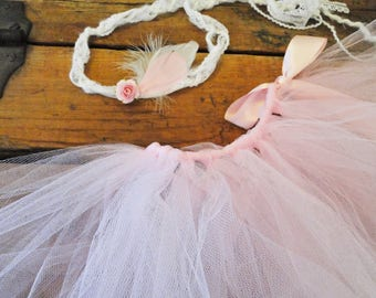 Tieback Tutu Feather Flower Pink Floral Boho Outfit Feather Headband