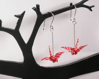 Birds earrings miniature origami washi paper heavy weight red and white