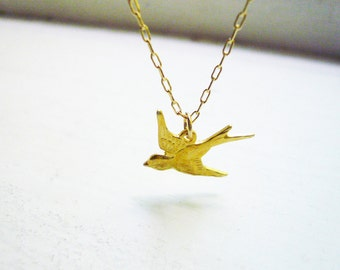 Tiny Gold Sparrow Necklace in Gold Filled and Vermeil - Dainty Gold Bird Pendant Necklace