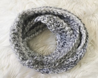 Gray And White Speckled Infinity Scarf / Chunky Yarn / Crocheted