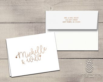 Letterpress Foil Thank You Cards & Envelopes - Bride and Groom Correspondence Cards - Custom Stationery Fold Over Note Cards