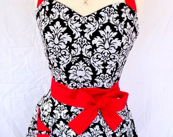 Damask Apron Retro Style with Red Sweetheart Neckline