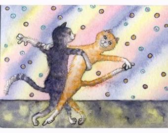 Cat kitten ballroom dancing 8x10 print