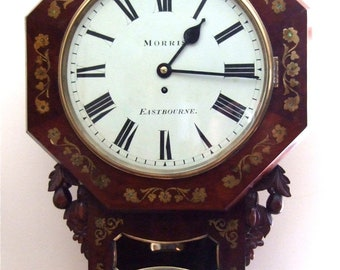Stunning Fusee Brass Inlaid Victorian Wall Clock
