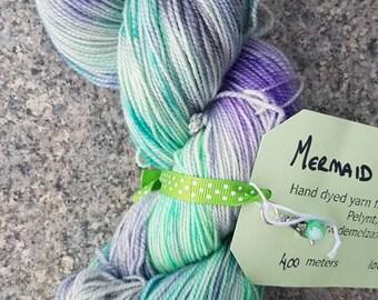 Hand dyed sparkling sock yarn 100g . Mermaid of Seaton