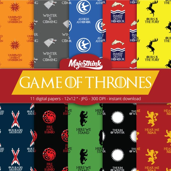 Items Similar To Game Of Thrones Digital Paper House Sigil Symbol