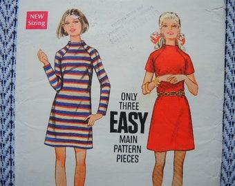 vintage 1960s Butterick sewing pattern 5608 one piece dress size 16