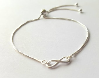 Sterling silver infinity link ball slider clasp bracelet fully adjustable mirror box chain
