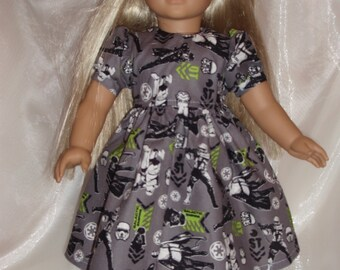 "18 Inch Doll Star Wars Short Sleeve Cotton Dress, 18"" Doll Clothes, AG Doll Clothes, Girl Doll Clothes"