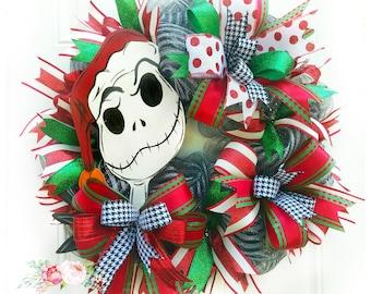 Jack Wreath, Nightmare Before Christmas Wreath, Jack Skellington Wreath, Jack Holiday Wreath, Mesh Wreath, Deco Mesh Wreath, Jack Decor