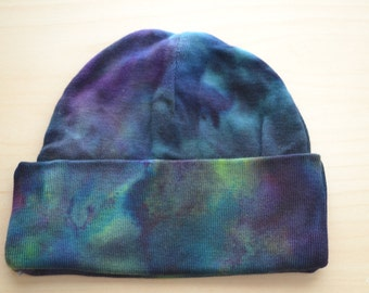 Hand Dyed Baby Hat - Bamboo Newborn Hat - Blue Green Baby Beanie