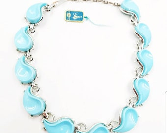 Vintage Signed Lisner Turquoise Blue Lucite Choker Necklace with Original Tag