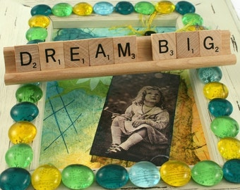 DREAM BIG Scrabble Letters Sign RECYCLED
