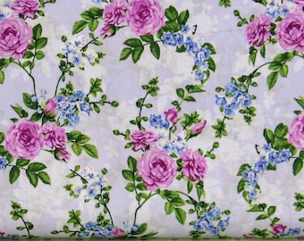 Pink and Blue Floral on a Lavender Background 100% Cotton Quilt Blender Fabric, Beverly Park Collection from RJR Fabrics, RJR2914-1, Purple