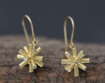 18K Gold Diamond Earrings - Gold Diamond Earrings - Gold Drop Earrings - Particle Collision Earrings - Gold Spiky Earrings - Free Shipping