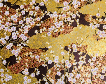 Japanese Yuzen (Chiyogami) Paper - 6x6in, 8.5x11in, 18x12in, 18x24in - White Cherry Blossom Branches on Gold & Dark Maroon - #668
