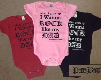 I Wanna Rock Like My Dad hand screen printed cotton, pink, red, or black infant onesie for Dad's baby sidekick