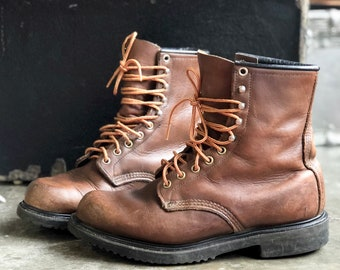 8 D | Vintage Red Wing Boots Lace Up Insulated Work Boots