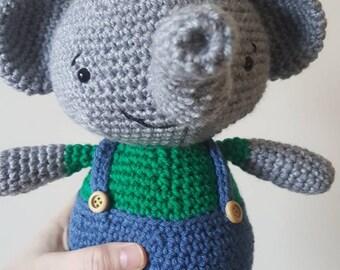 Handmade elephant, stuffed elephant, crochet elephant, elephant in pants, amigirumi, bird, friend, gift idea, birthday gift