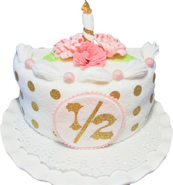 Handmade whitegold half birthday Cake Set Felt Cake baby